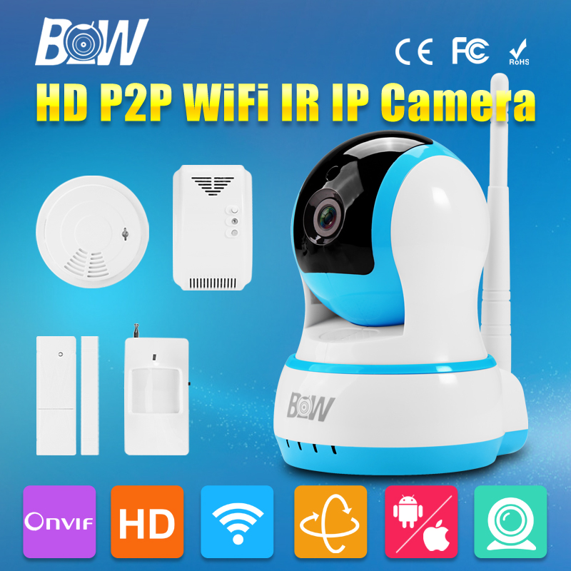 BW HD 720P WiFi CCTV IP Camera P2P Wireless P/T with Infrared Monitor & Door Sensor + Gas & Smoke Detector GSM Alarm Security bw wireless wifi door