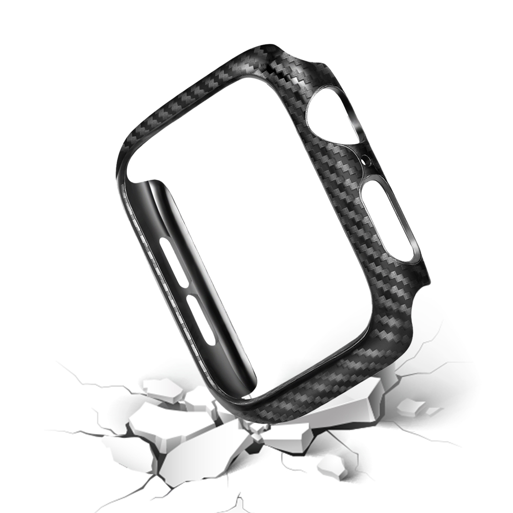 Carbon Fiber Hard PC Frame Case for Apple Watch Case 42 38 40 44mm Compatible for iwatch series 4 3 2 1 Protector Bumper Cover in Watchbands from Watches