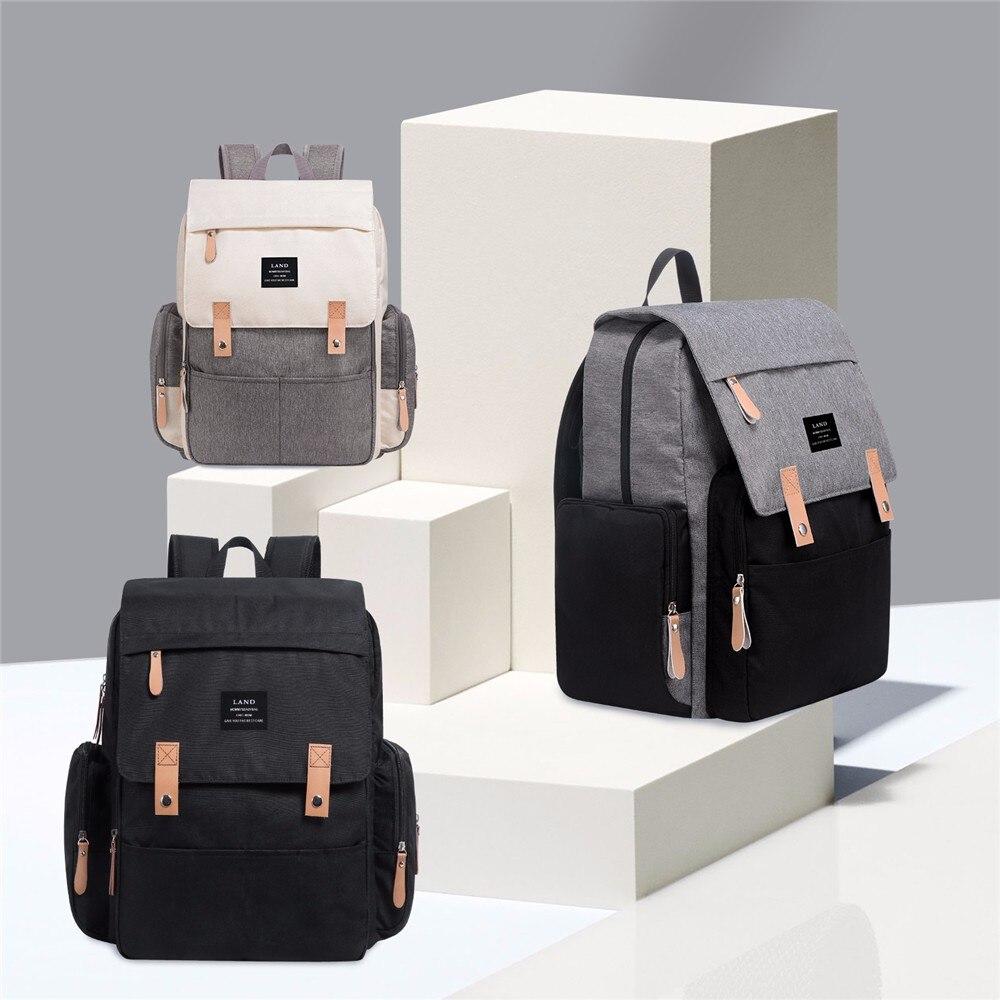 LAND Mummy Bag Nylon Mother Bag Stroller Travel Large Nursing Bag Waterproof Backpack Outdoor Twins Baby