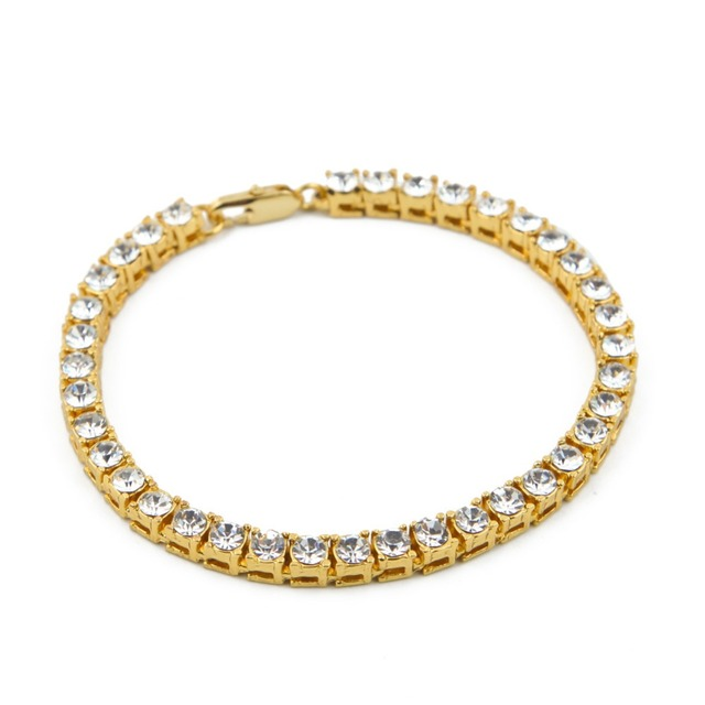 Bling Iced Out 1 Row Rhinestones Bracelets Hip Hop Crystal Jewelry Gifts Women M