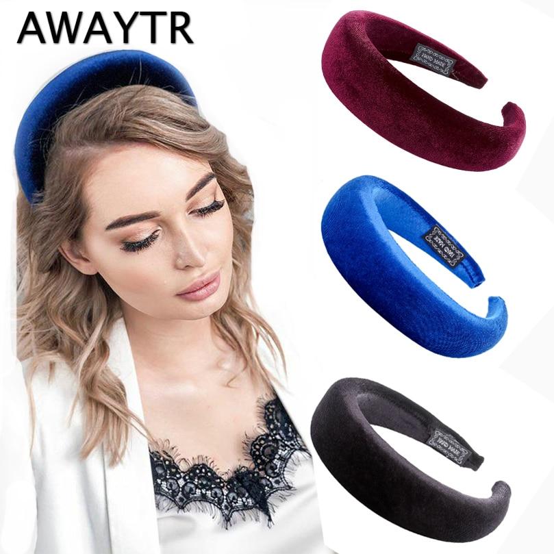 AWAYTR Large Velvet/Fabric Headband For Women Thick Retro Royal Hairband Ladies Women Headwear Girls Headpiece Hair Accessories