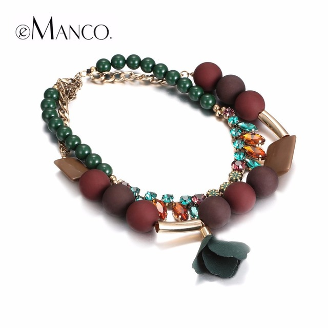2017 New Arrival eManco Trendy Vintage Style Choker Necklaces for Women Dark Green Stone & Crystal Necklace Fashion Jewelry