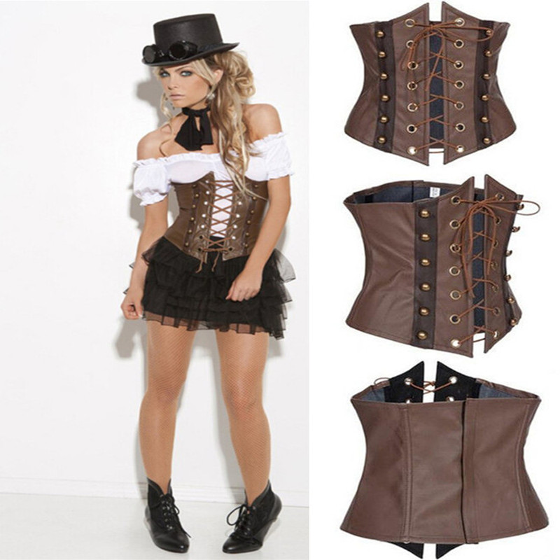 Sexy Lingerie Steampunk Faux Leather   Corset   Underbust Brown Body Shaper Corselet   Bustier   Corsage For Women S-XXL Gothic
