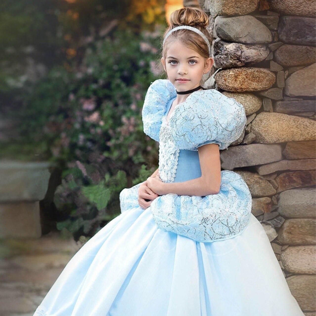 Mother & Kids Summer Girl Cinderella Princess Dress Kids Short Halloween Performance Costume 2019 New Children Party Blue Evening Formal Dress