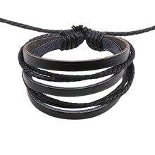 2018 Pulseira joyería Masculina pulseras y brazaletes hechos a mano pulseras de cuero para hombres Charm Bileklik Pulseiras novio novia
