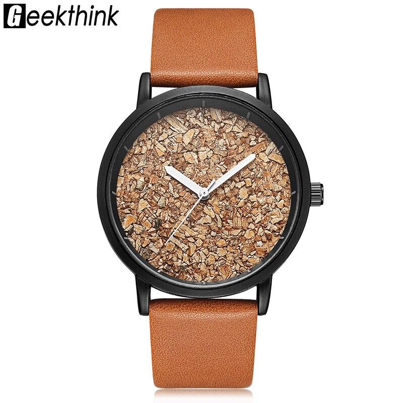 Geekthink Natural Gravel Stone Fashion Women Brand Quartz Watches Wood Unisex Ladies Casual Designer Wristwatch Dress clock mance ladies brand designer watches