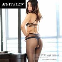 The New Micro Shiny Sexy T File Open Crotch Pantyhose Ladies Slim Toe Transparent Stockings Temptation