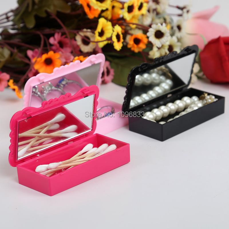 Rose Flower Pattern Box, Empty False Eyelash Case, Cosmetics Storage Case with Mirror, Rosace Portable Box, 10 Cases/Lot 25pcs empty metal bobbins spool case with 25 grid storage case box for sewing machine reels home accessories