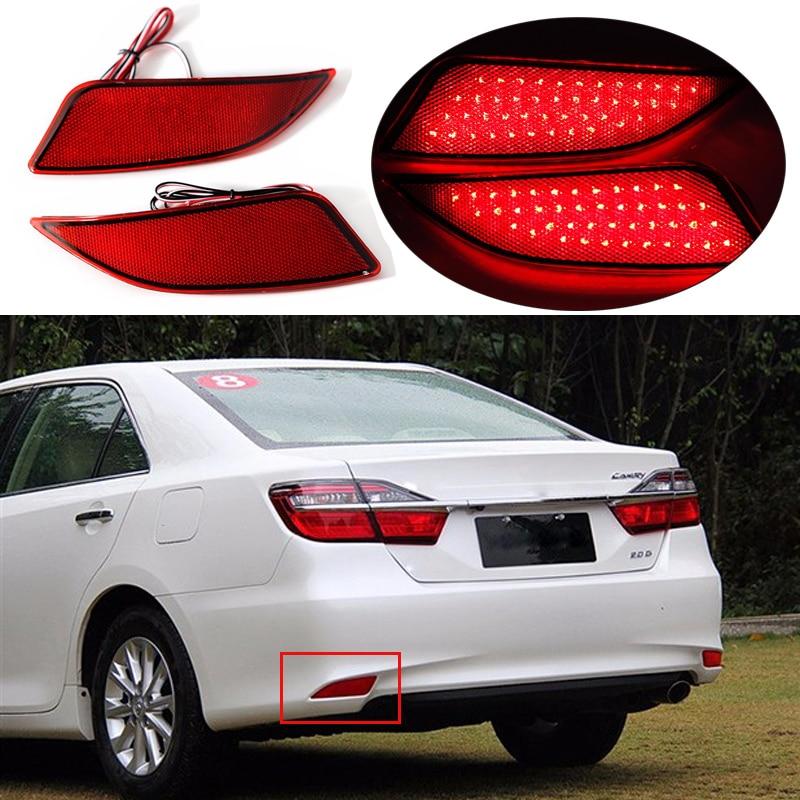 2PCS For Toyota Camry 2014 2015 2016 Red Lens LED Rear Bumper Reflector Assemble Brake & Driving Lamp BackupTail Fog Lights 2014 2015 year camry v55 led bumper light for toyota v1
