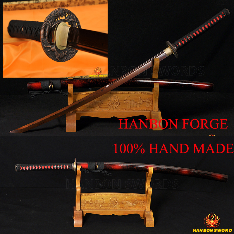 Japanese Samurai Red Steel Sword KATANA Damascus Sharp Blade Full Tang Alloy Lion Tsuba Battle Ready Hand Forged Unokubi-Zukuri