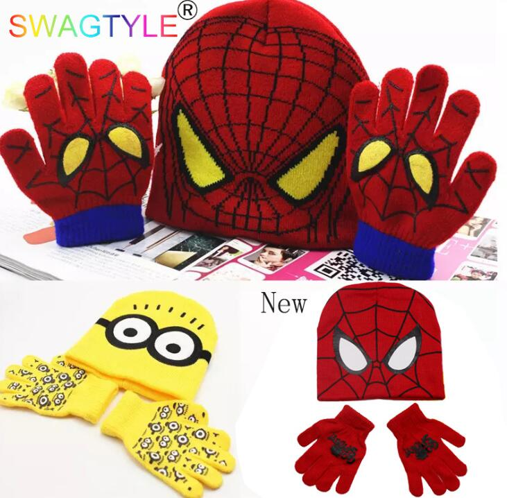 1set Avengers Spider-man Knit Beanie Hat Children Christmas Winter Knitted Gloves Hat Set Party Kids Gifts 2-8Y