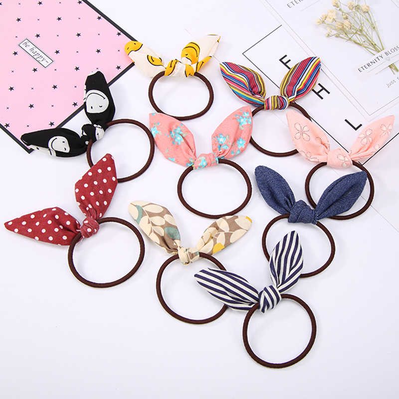 Pretty Rabbit Ear Cloth Elastic Hair Rubber Bands Women Girls Bows Hair Tie Hair Accessories Headwear Hot Selling