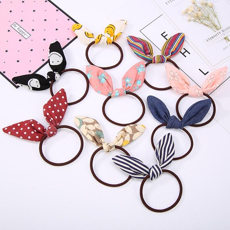 Pretty Rabbit Ear Cloth Elastic Hair Rubber Bands Women Girls Bows Hair Tie Hair Accessories Headwear Hot Selling