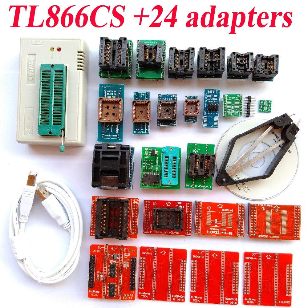 TL866CS programmer 24 adapters High speed TL866 AVR PIC Bios 51 MCU Flash EPROM Programmer Russian