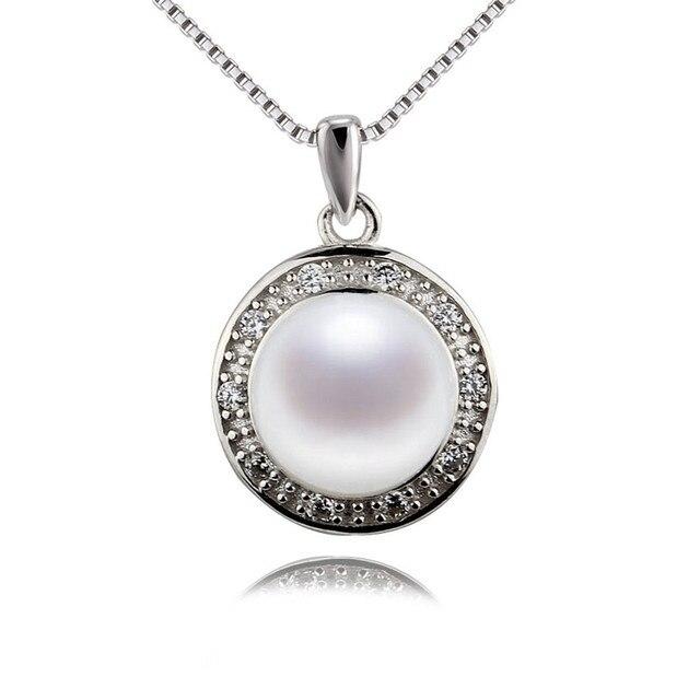 SNH 100% стерлингового серебра 925 ожерелье кулон 9.5-10 мм ААА натуральный белый button mother жемчужный кулон ювелирных изделий