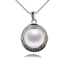 SNH 100% 925 sterling silver necklace pendant 9.5-10mm AAA pure white button mom pearl pendant jewellery