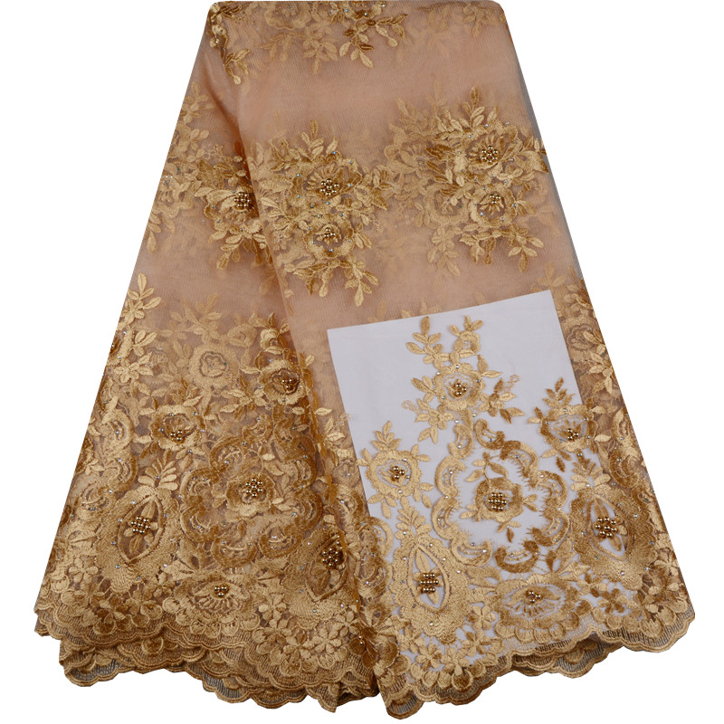 Lace Fabric Royal Gold French Lace Fabric With Beaded Nigerian French Fabric High Quality African Tulle