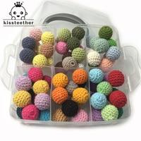 Chunky Wooden Crochet Beads Set Baby Teething Nursing Silk Cotton Knitted Bead DIY Wooden Beads Handmade