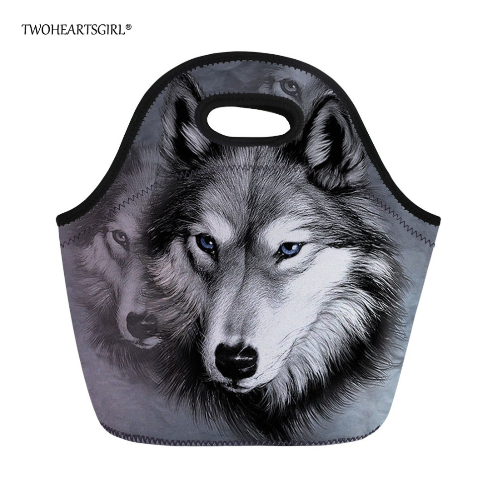 Twoheartsgirl Grey Print Wolf Neoprene Lunch Bag for Women Cool Teen Boys Insulated Food Bag Thermal Child Kids Thermo Food Bag