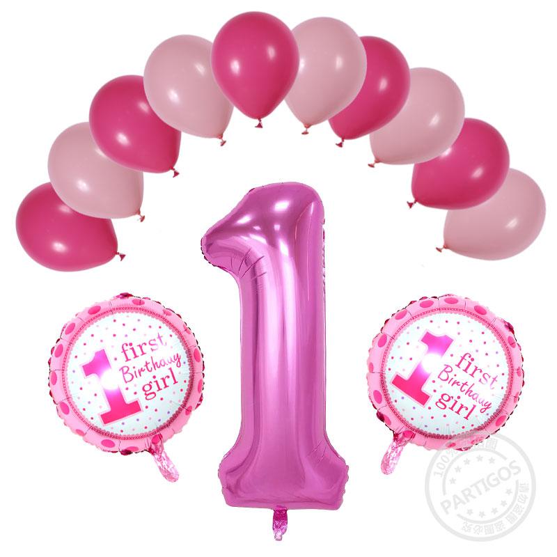 13 Stks Partij 1 Jaar Oude Baby Douche Ballonnen Verjaardag Helium