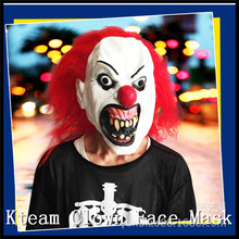 Hot Sale Halloween Party Cosplay Funny Halloween Latex scary clown mask with red hair Jester joker face Mask Costume dress
