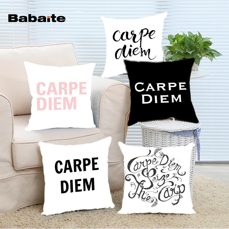 Babaite Carpe Diem Black Pink Art Style Custom Luxury Christmas Throw Pillowcase Cover Twin Sides Bedding Set