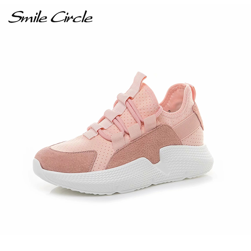 Smile Circle Summer Sneakers Women Lace-up Flat Platform Shoes Women Breathable Thick bottom sneakers 2018 Summer shoes pink smile circle spring autumn women shoes casual sneakers for women fashion lace up flat platform shoes thick bottom sneakers