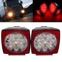 1 Pair Car Stop LED Light Tail License Plate Lights Truck Trailer Square Brake Side Lamp