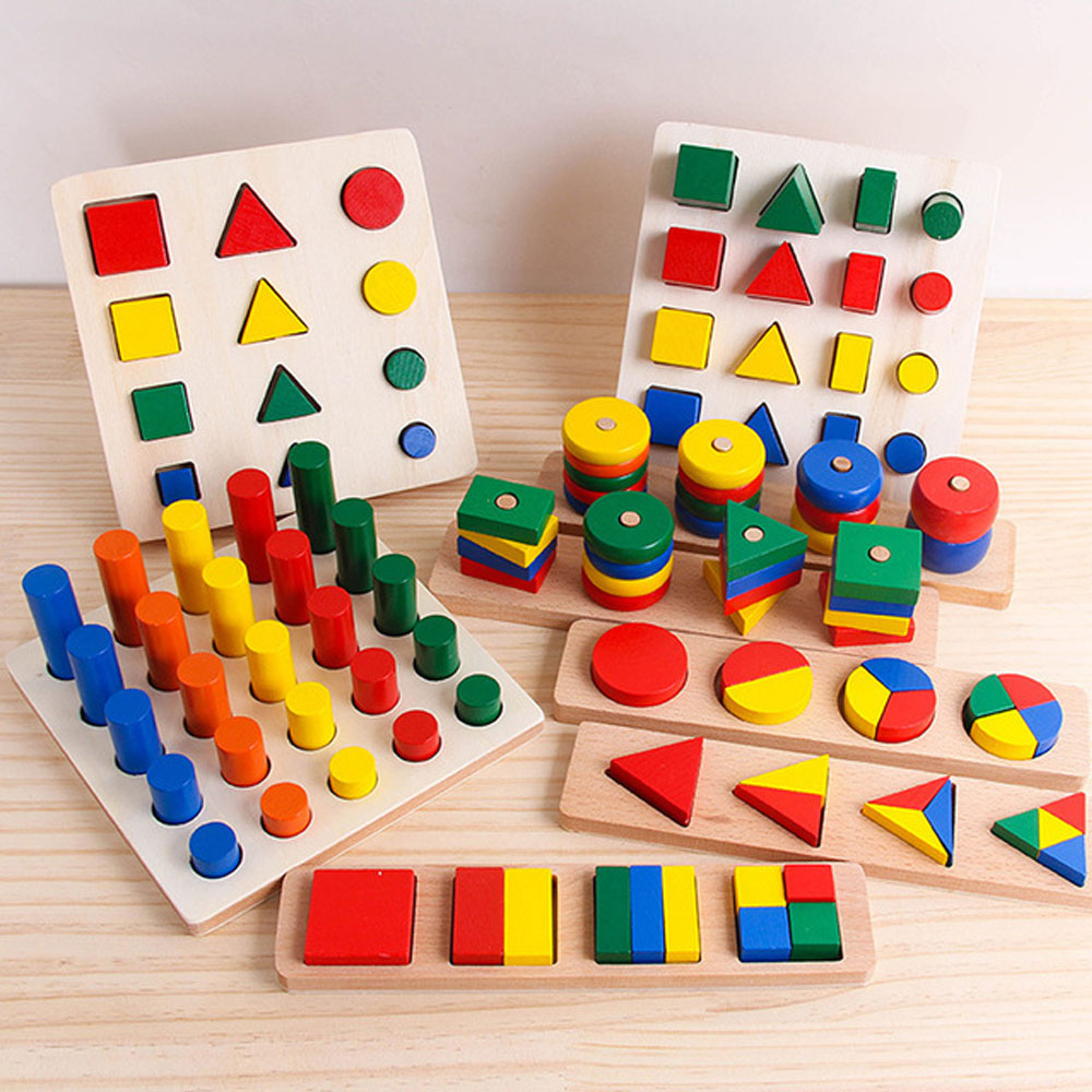Montessori Toys Geometry Math Wooden Toys 8 In 1 Set Cylinder Educational Blocks Toys Kids Teaching Aids For Children Gifts