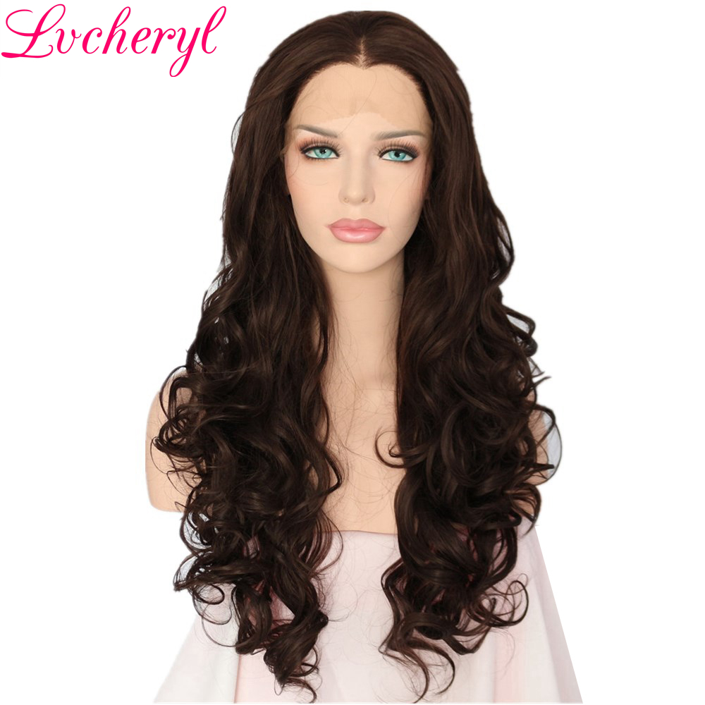 Lvcheryl Hand Tied Dark Brown Body Wave Style Heat Resistant Fiber Hair Wigs Glueless Synthetic Front Lace Wigs for Women-in Synthetic None-Lace  Wigs from Hair Extensions & Wigs    1
