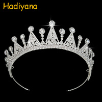 Hadiyana High Quality Bridal Crowns Thick White Gold Tiaras With Halo Pear Cut Zircon For Women Miss World Bridal Jewelry BC3825
