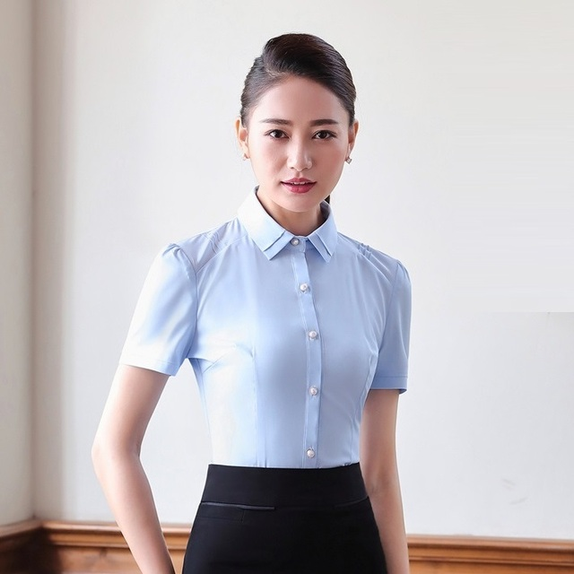 Summer Formal Women Blouses Shirts Short Sleeve Office Las Work Wear And Tops Sky