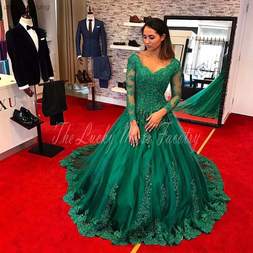Robe De Soiree Emerald Green Evening Dress With Sheer Long Sleeve Appliques Lace Sweep Train Evening Celebrity Gowns Red Carpet