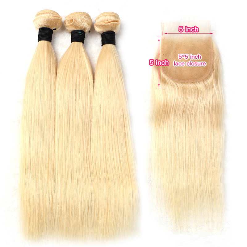 Facebeauty 613 Blonde Malaysian Hair 2 3 4 Bundles Deal with Lace Closure 5x5 Remy Straight