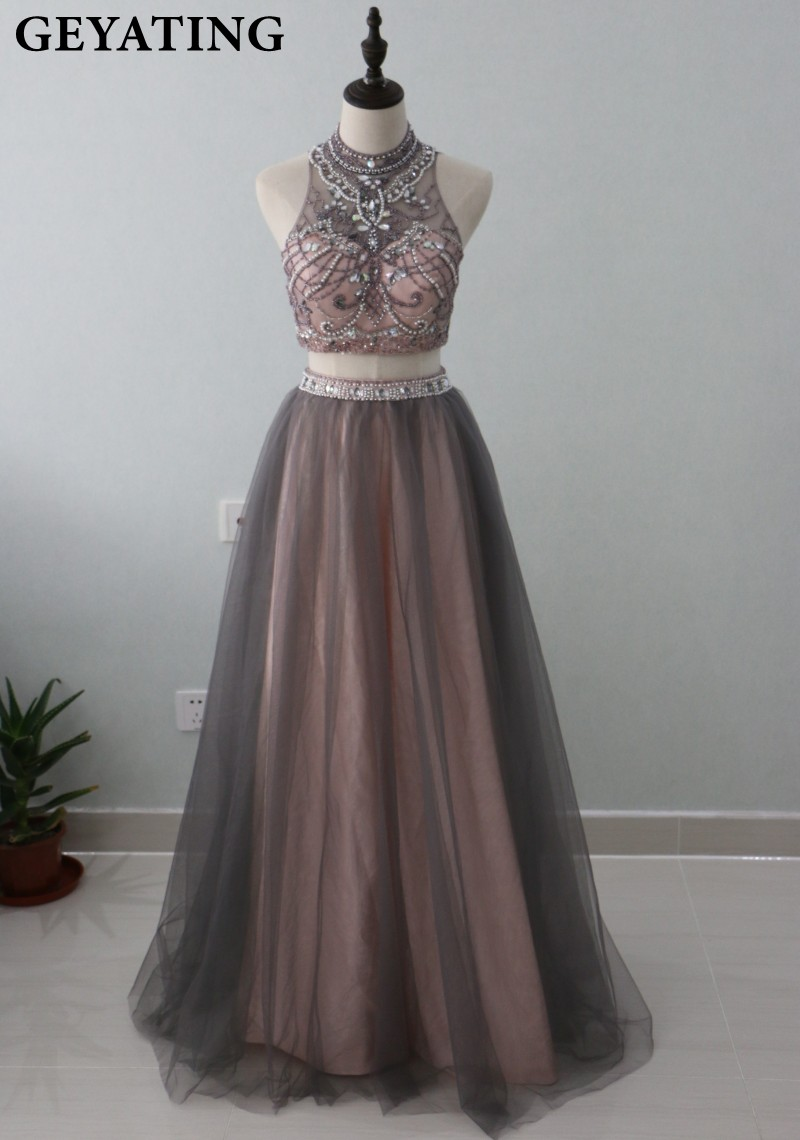 Brown Tulle Two 2 Pieces Prom Dresses 2018 Luxury Beaded Crystals Crop Top Long High Neck Evening Dress Graduation Party Gowns ...