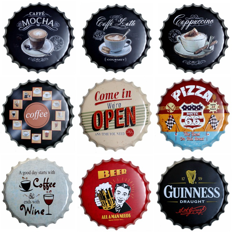 Coffee Round Bottle Cap Tin Sign Decor Vintage Plaque Metal Tin Signs Wall Pub Bar Restaurant Home Art Decor 40CM T 73 in Plaques Signs from Home Garden