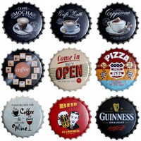 Coffee Round Bottle Cap Tin Sign Decor Vintage Plaque Metal Tin Signs Wall Pub Bar Restaurant Home Art Decor 40CM T 73