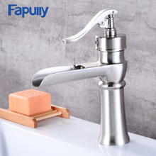 Fapully brass single handle wash basin faucet , Nickel Brush
