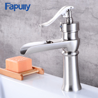 Fapully Waterfall Faucet Nickel Brush Bathroom Basin Faucet Brass Single Handle Single Hole Mixer Tap