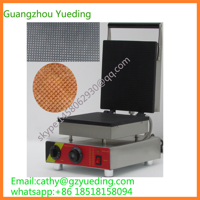 China supplier Electric square shape waffle machine/Ice cream cone maker square pan rolled fried ice cream making machine snack machinery