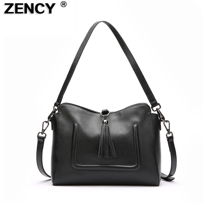 ZENCY Genuine Leather Small Women Shoulder Tassel Bags Tote Handbags First Layer Cow Leather Ladies Messenger Bag Satchel zency new women genuine leather shoulder bag female long strap crossbody messenger tote bags handbags ladies satchel for girls