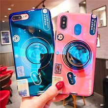 For Samsung A50 Case Blue Ray Camera Stand TPU Cover For Samsung Galaxy A7 2018 A8S A10 A20 A30 A40 A50 A70 M10 M20 A9 2018 Case цена и фото