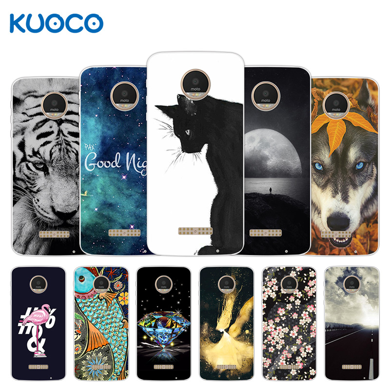 Phone Cases For Motorola Moto Z Play Force Droid 2016 Vertex Moto X 4 XT 1635-03 XT1635 Mo Tiger Design Cover Shield Capa image
