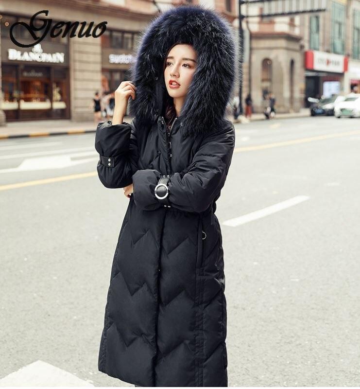2019 Koreaanse Stijl Winter Jas Vrouwen Losse Oversized Vrouwelijke Down Jas Capuchon Met Bont Warm Katoen Gevoerde Lange Parka
