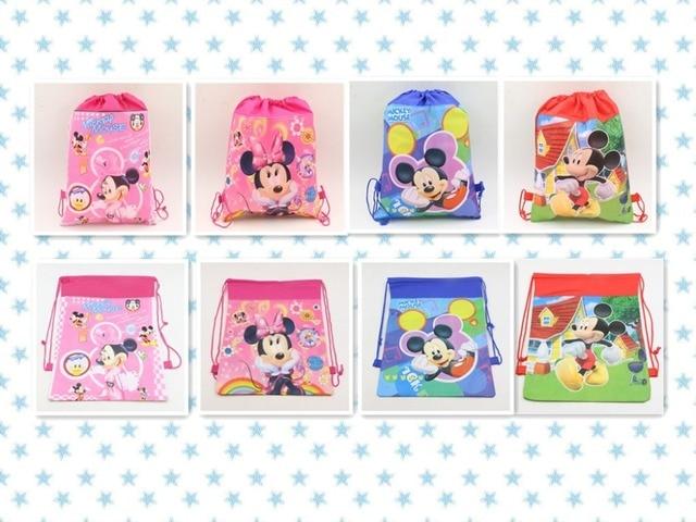 Lindo Mickey/Minnie Mouse Bolso de Lazo de Tela de Dibujos Animados Para Niños Fiesta de Cumpleaños Decoración Suministros Mochila Escolar Bolsa de Regalo A Favor