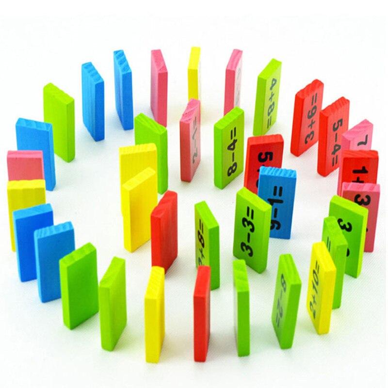 Bébé maths jouet blocs en bois jouet éducatif en bois maths jouets pour enfants Domino 3-4-5-6-7-8 ans jeu cadeaux drôles enfants - 5
