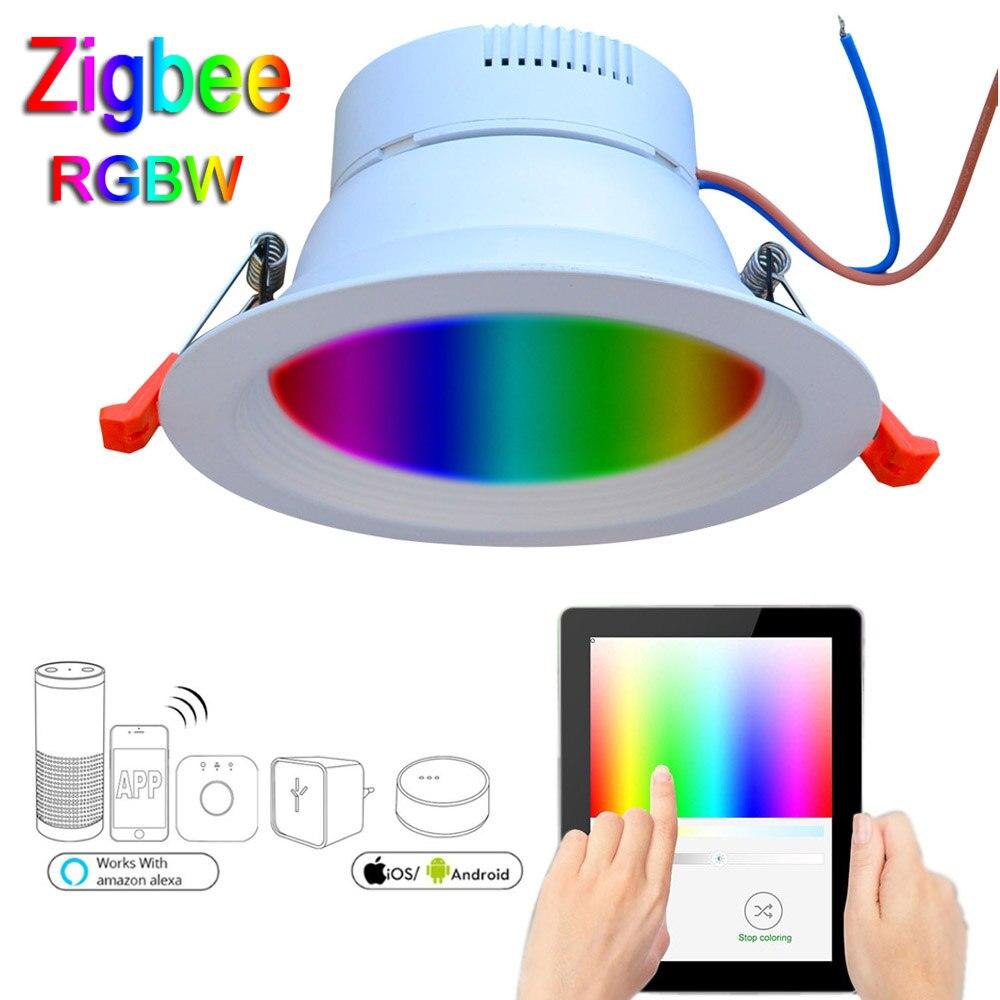 JIAWEN Smart Home, Casa Intelligente Zigbee RGBW 9 w HA CONDOTTO Il Downlight APP di Controllo di Lavoro con Amazon Echo Più Direttamente Soluzione di Illuminazione Intelligente