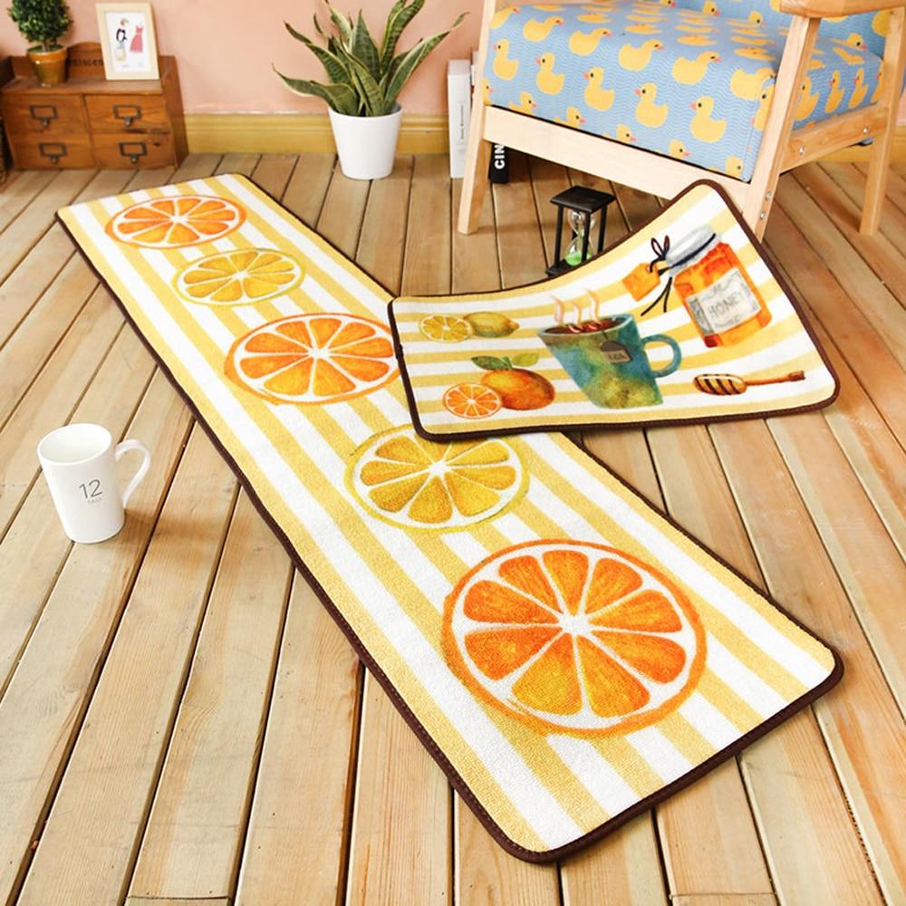 €32.12 10% de réduction|Style Pastoral Fruit citron/thé tapis cuisine  résistant à l\'huile coureur tapis salle de bain antidérapant absorbant  tapis ...