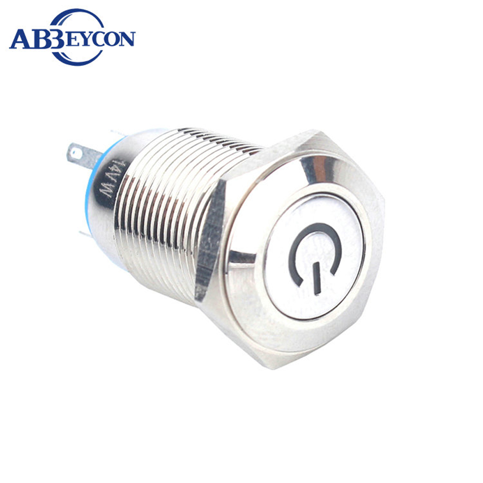 16mm Latching Power Logo Led Illuminated Push Button Switch 12V Blue Flat Round Head Led On-Off Switch Pin Terminal Metal Shell