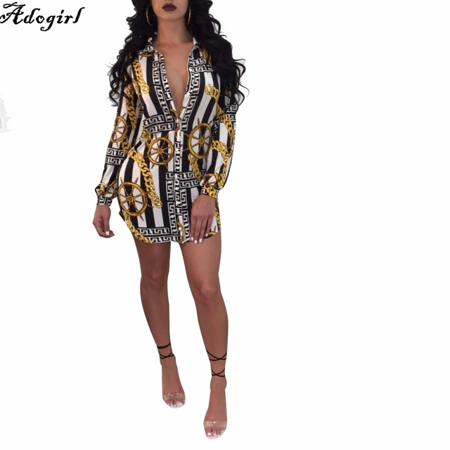 728e5dff9ac28 US $21.24 24% OFF|Adogirl Brand Sexy Women Shirt Dress New Spring Gold  Chain Printed Fashion Irregular Casual Mini Vestidos Dresses Vintage  Tunic-in ...